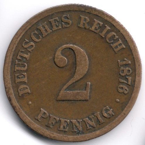 Germany 2 Pfennig 1876 F Veiling in de Duitsland,Europa (niet of voor €),Munten,Munten & Banknota's Categorie op eBid België   144326295