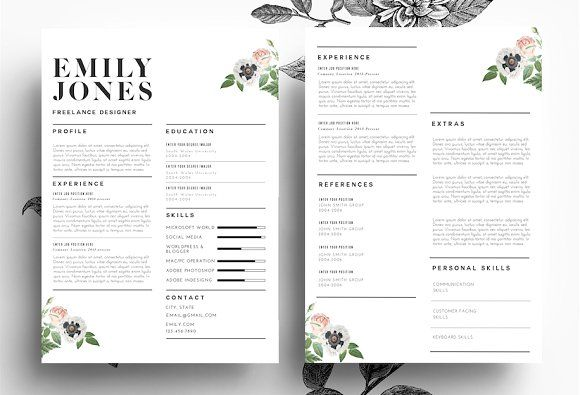 Modern Resume PsdWord File By EmilyS Art Boutique On