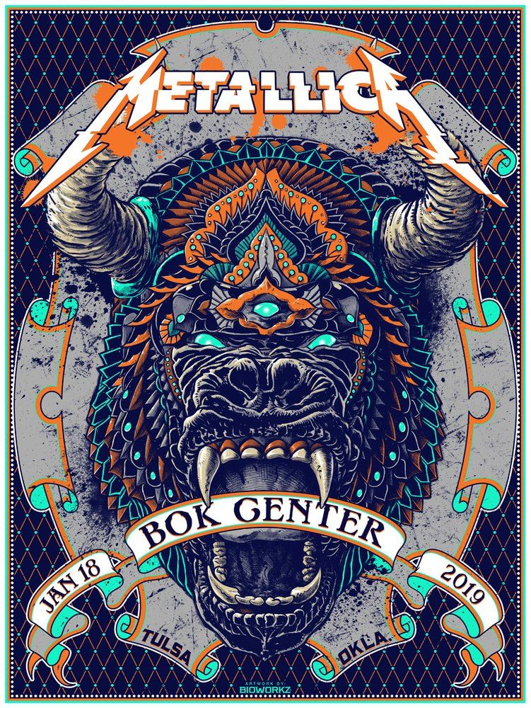 Metallica Tulsa, OK Posters in 2019 | Moody Gallery Wall