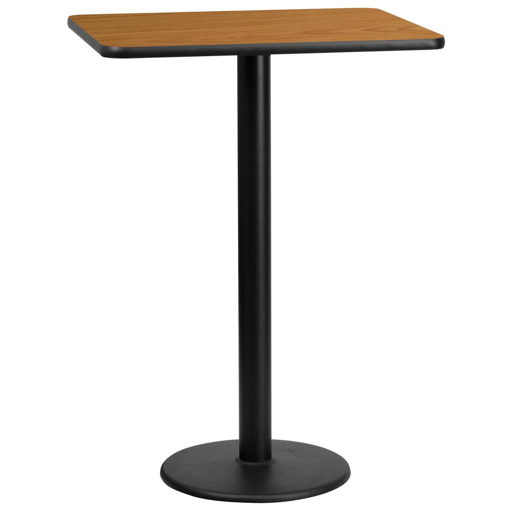 24'' x 30'' Rectangular Natural Laminate Table Top with 18'' Round Bar Height Table Base, Black/Natural