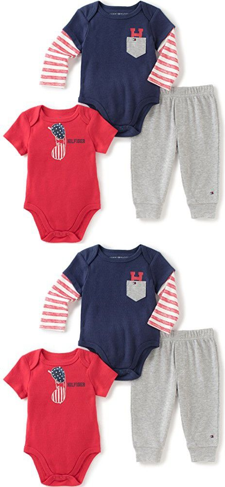 ee48e934 Tommy Hilfiger Baby Boys' Two Bodysuits and Pant Set, Navy, 0-3 Months