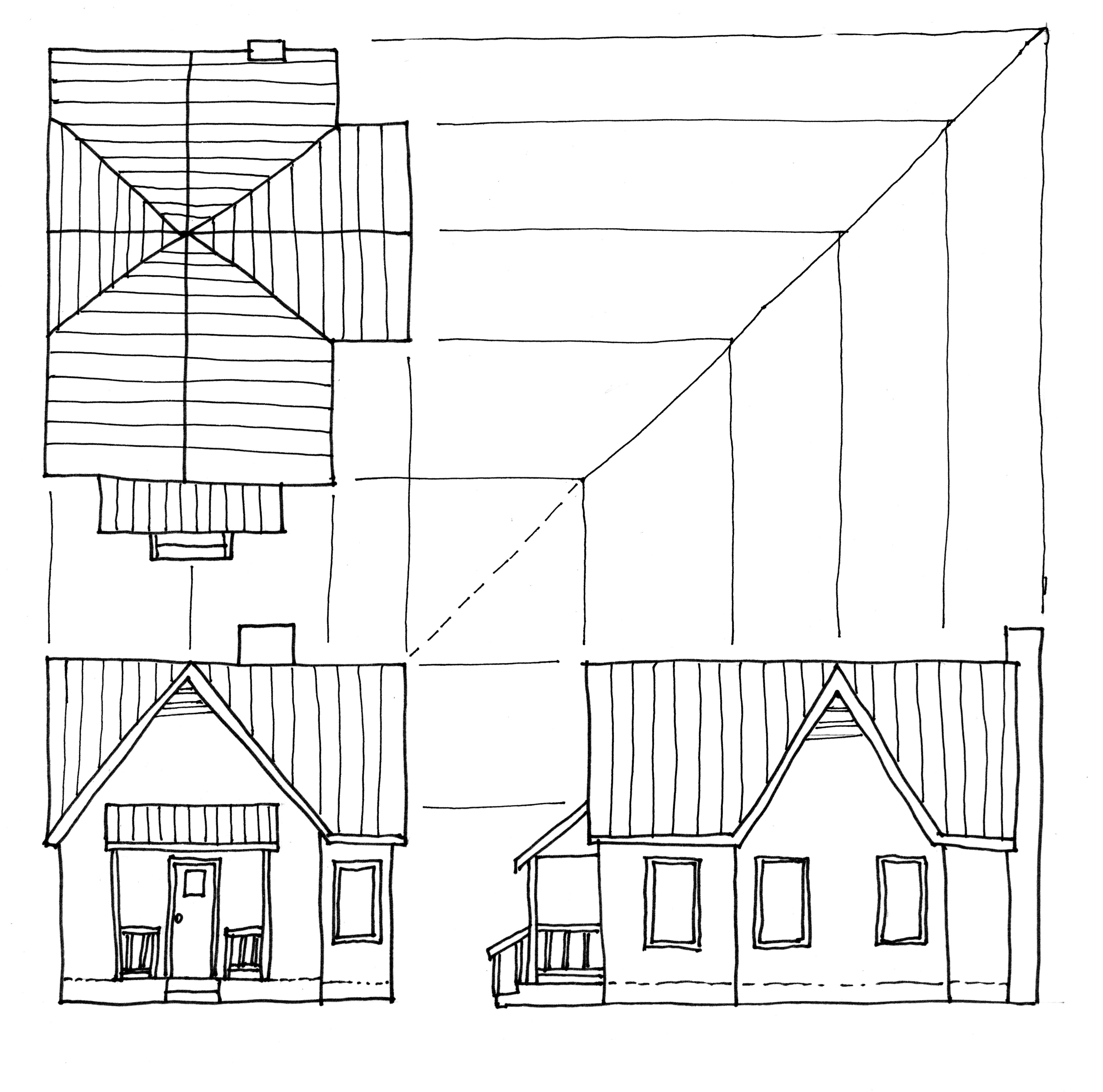 Studying Roof Plans 3 House Design Drawing House Sketch Roof Plan