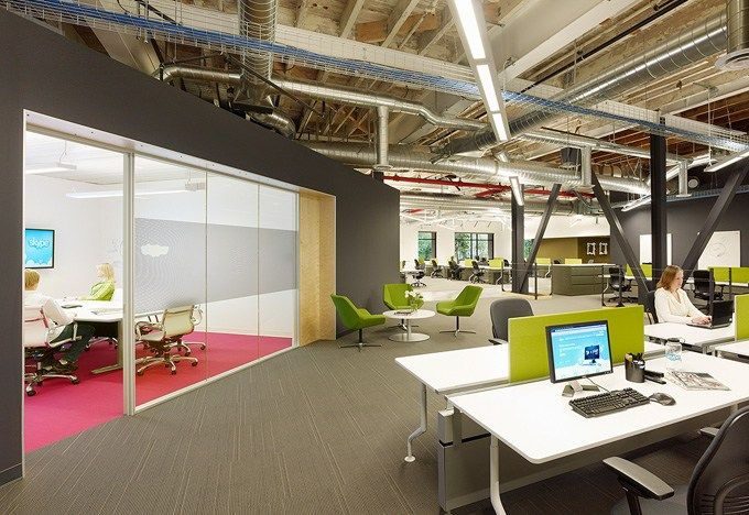 open plan office with lime color mullions #openplanoffice cubicles