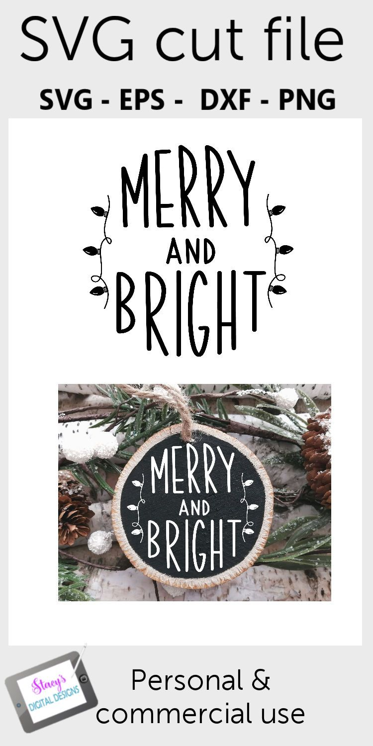Christmas Ornament SVG Merry and Bright Round Merry