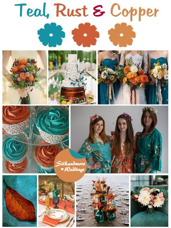 Teal Copper And Rust Wedding Color Bridesmaids Robes Premium Rayon Fabric Wider Bel Copper Wedding Colors Teal Wedding Colors Copper Wedding Color Palette
