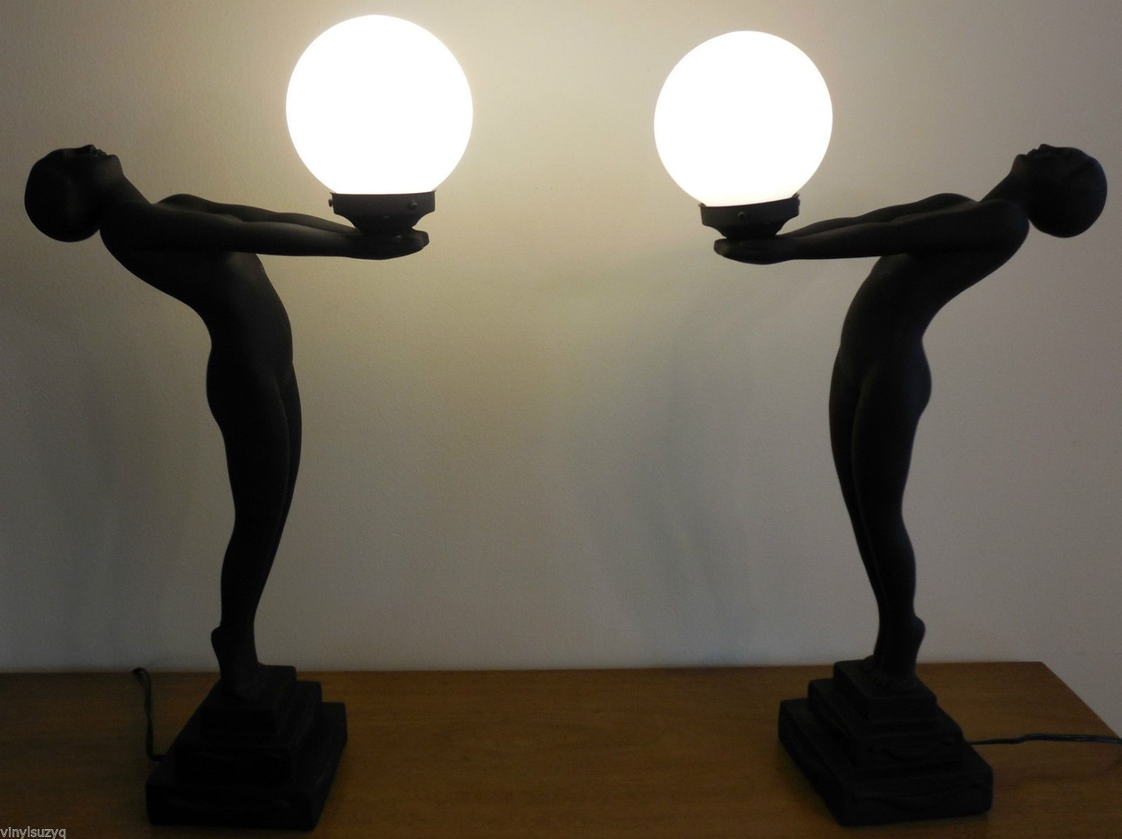 Pair Of Art Deco Style Nude Lady Table Lamps White Globes Black Figures