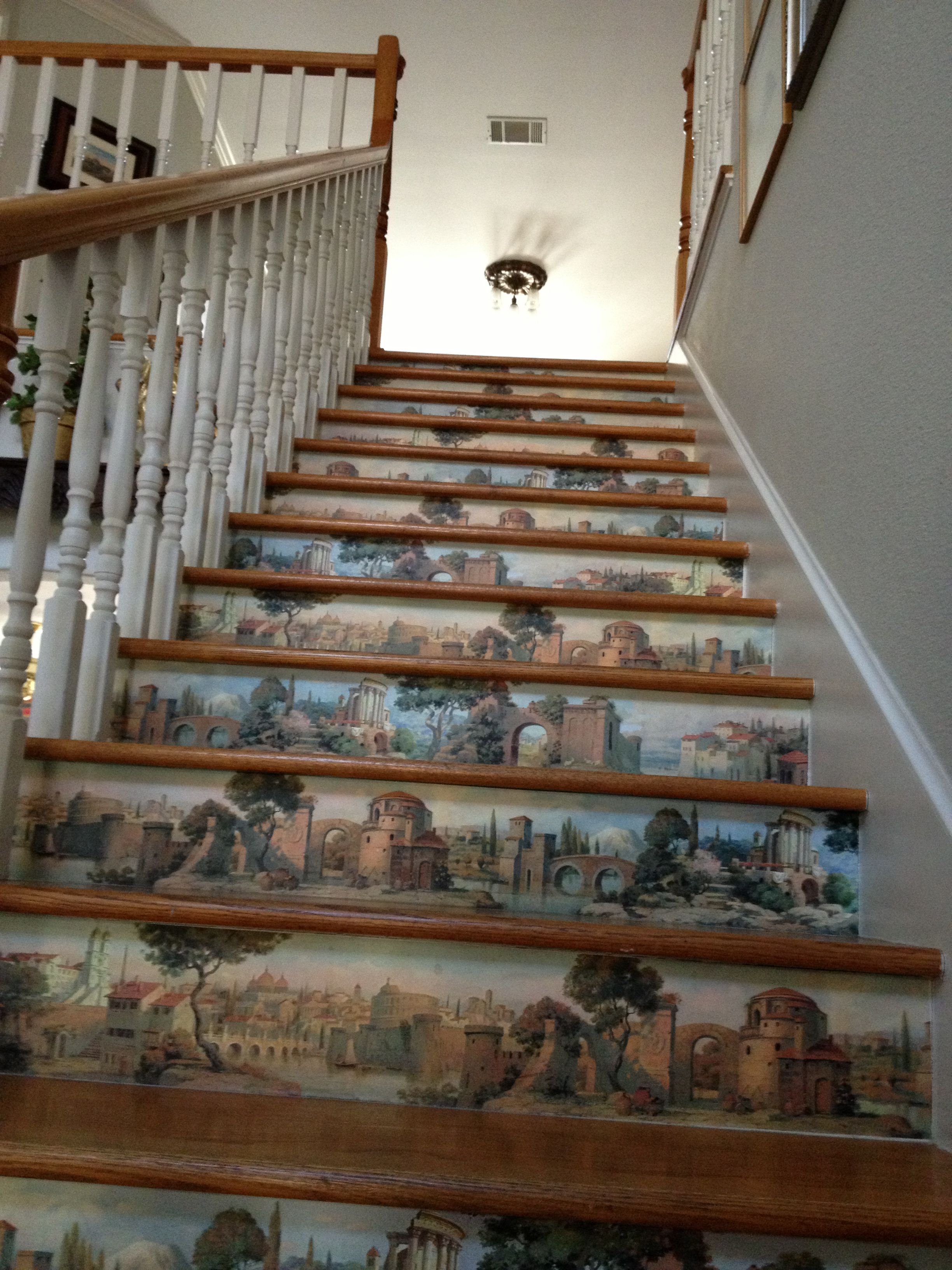Used Wall Paper Border On Stairs Has Been Up 7 Years Getting Ready To Take It Off For A Change Painted Stairs Stairs Stair Risers