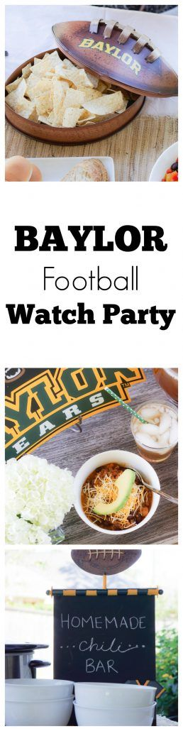 FOOTBALL WATCH PARTY: CHILI BAR - Thoughtfully Styled Baylor Football Watch Party Baylor Bears Party #chilibar