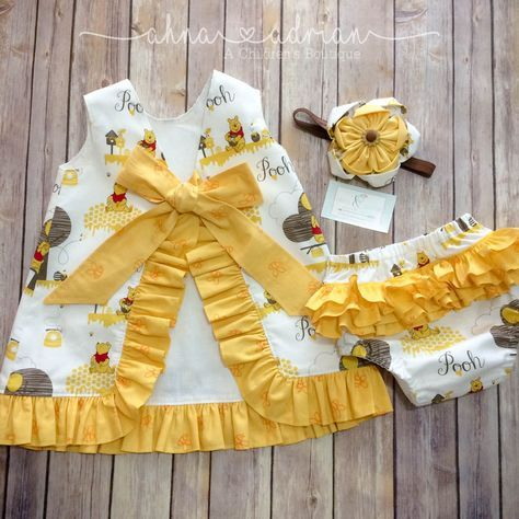 Girls Pinafore Dress Winnie the Pooh Ruffled Pinafore Outfit First - winnie pooh küche