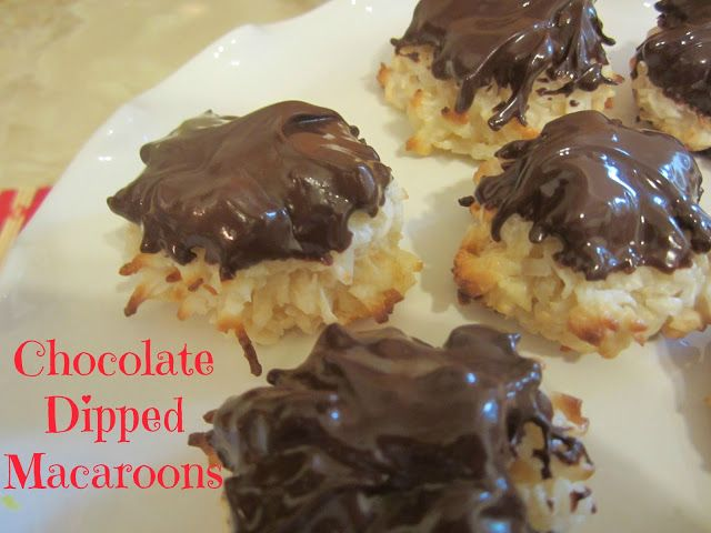 Easy recipe for fabulous Chocolate Dipped Macaroons. These are so much cheaper than buying them from the bakery or store.
