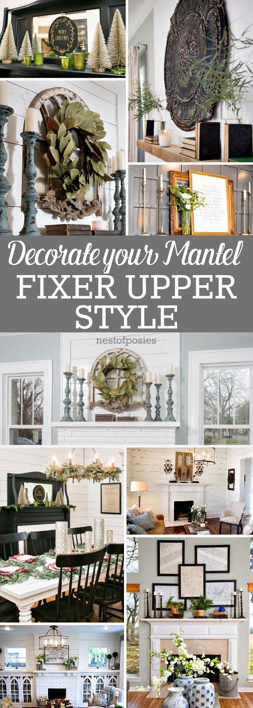 how to decorate a mantel fixer upper style nest of posies inspiration haus zuhause und. Black Bedroom Furniture Sets. Home Design Ideas