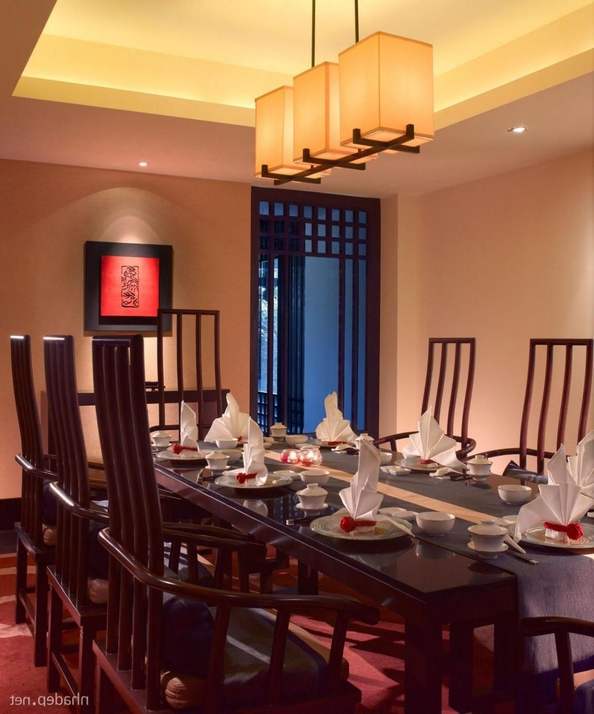 Asian Style Dining Room Design Ideas With Hanging Lantern Black Wooden Table Set Exotic Banyan