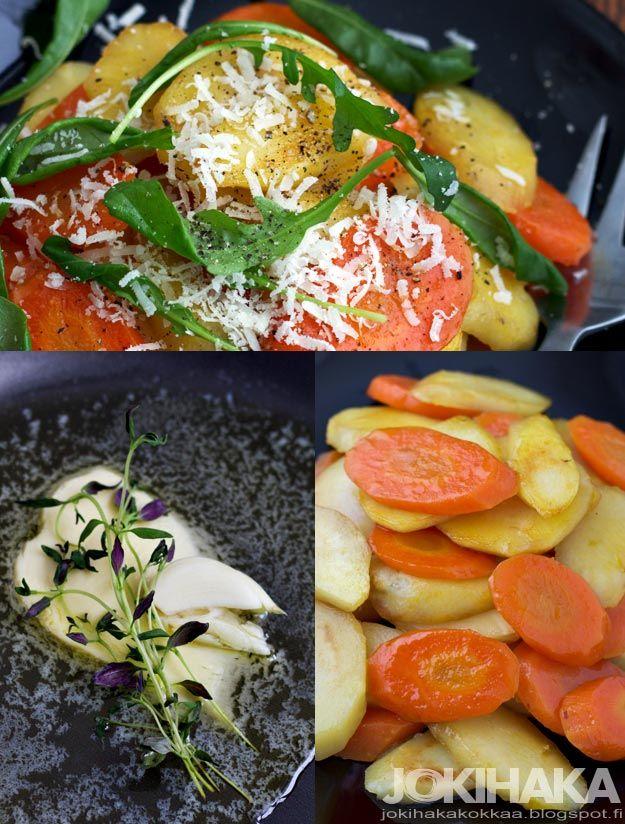 kamerajakauha.blogspot.fi: Hunajaiset palsternakat ja porkkanat pannulla