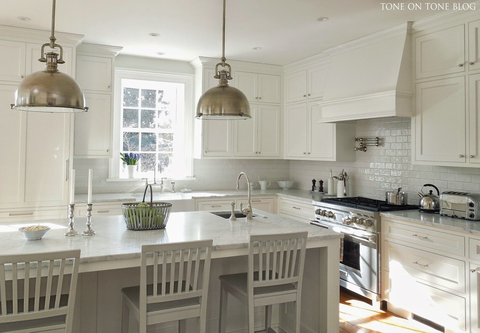 Tone on Tone: Shades of Gray and White. Polished nickel faucet from ...