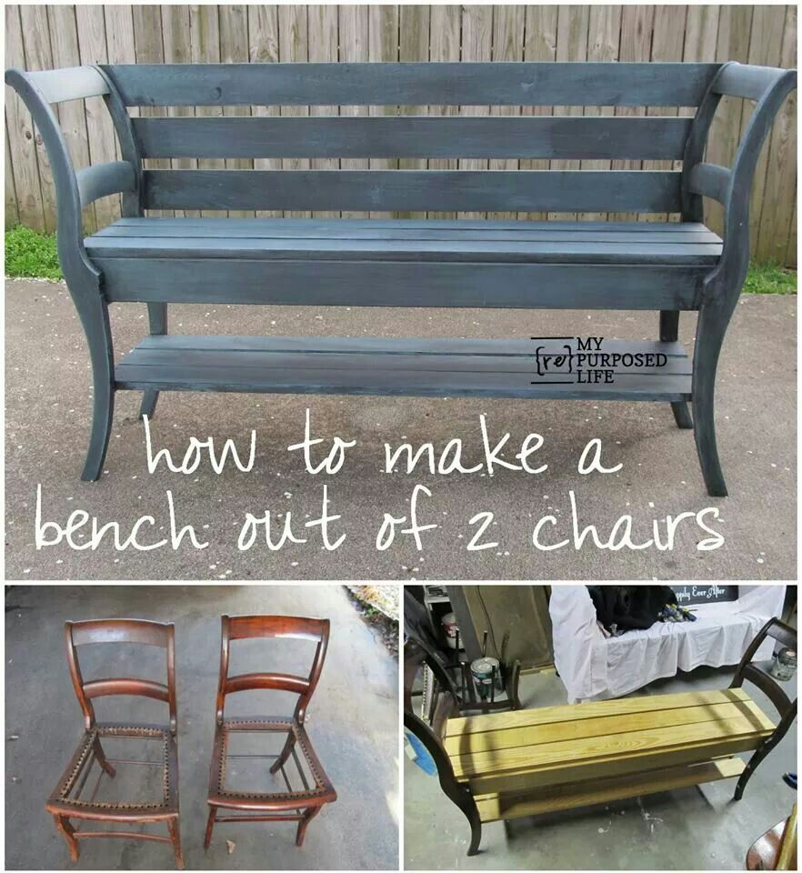 How to make a bench out of teo chairs