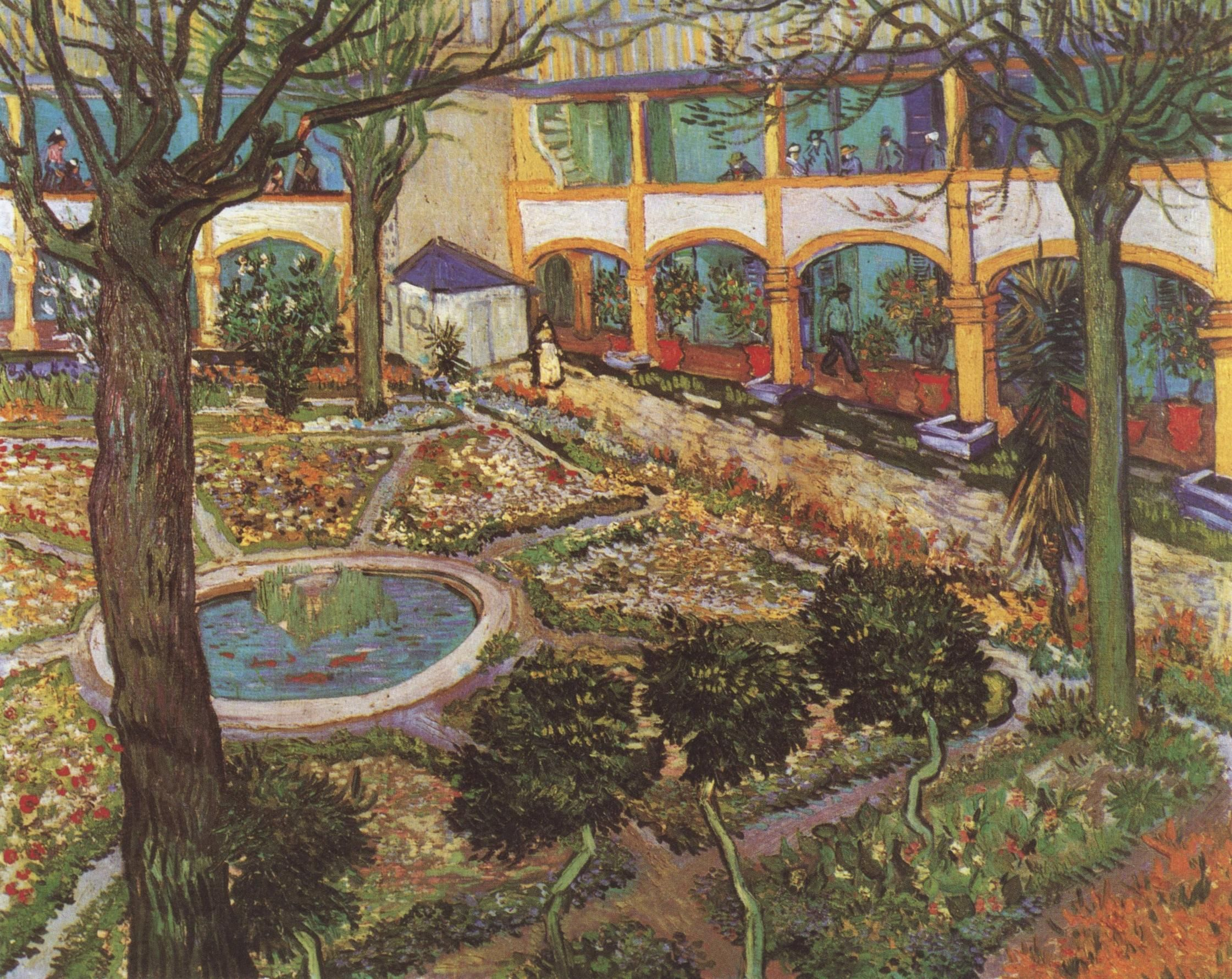 Arte Abstracto Hospital Vincent Van Gogh The Courtyard Of The Arles S Hospital 1889