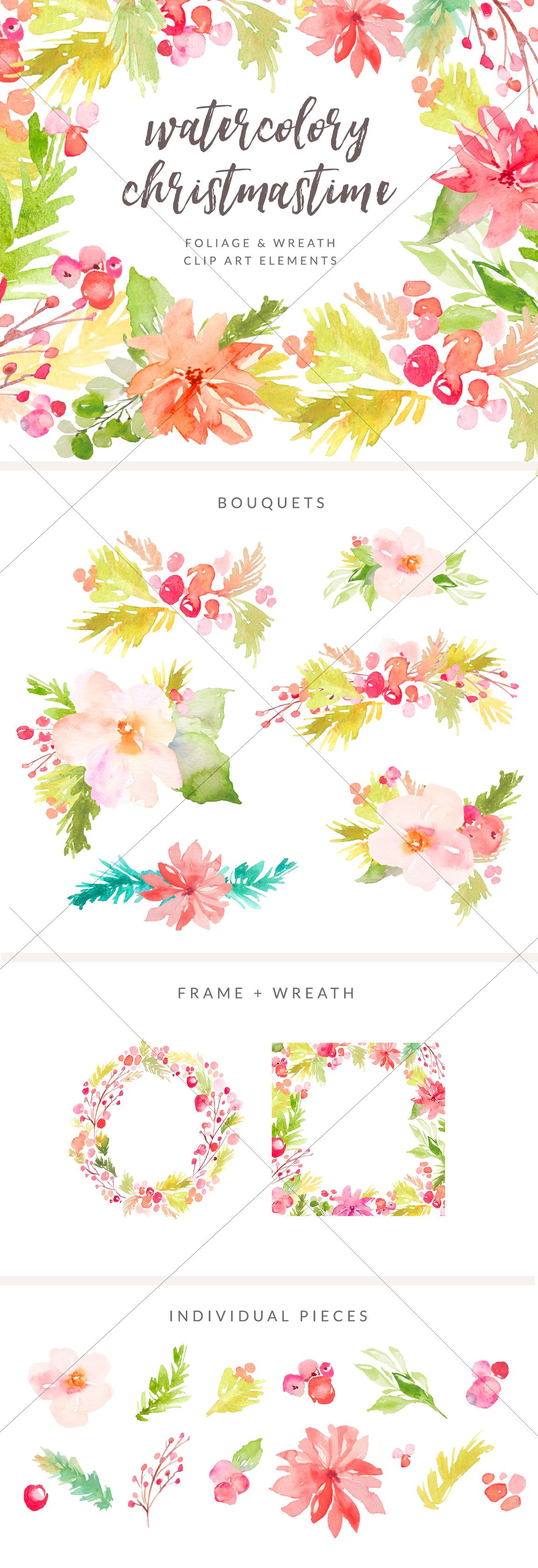 Cute Watercolor Flower Bouquets with Winter Berries. This Winter Foliage Clip Art is Perfect for Your Projects! | angiemakes.com