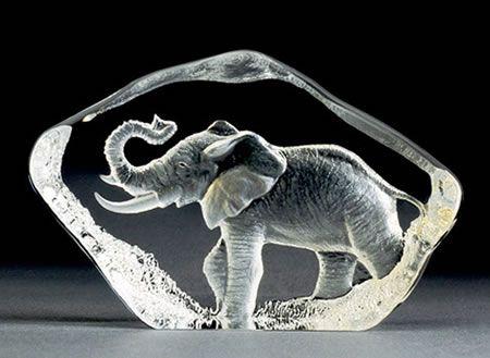 Swedish Glass Elephant Figurine Produced At Mats Jonasson
