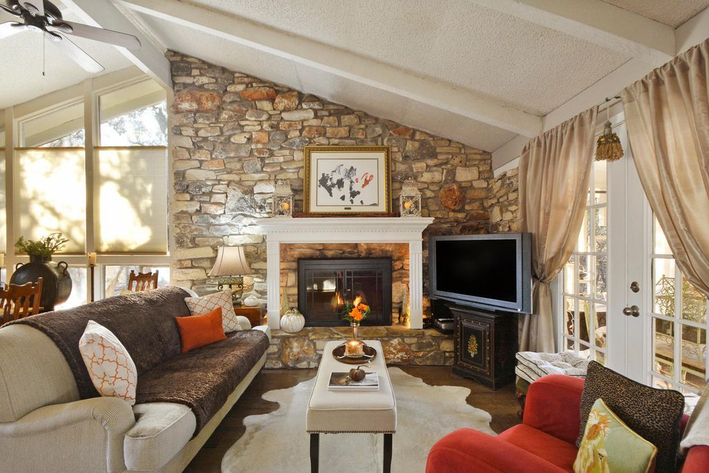 Eclectic Living Room with Exposed beam, French doors, PB Comfort English Arm Upholstered Sofa, Fringed Burlap Panel