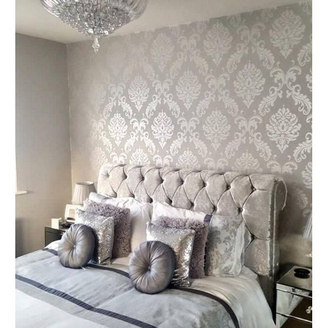 Chelsea Glitter Damask Wallpaper Soft Grey Silver H980504 Living Room Wall Color Damask Wallpaper Room Wall Colors