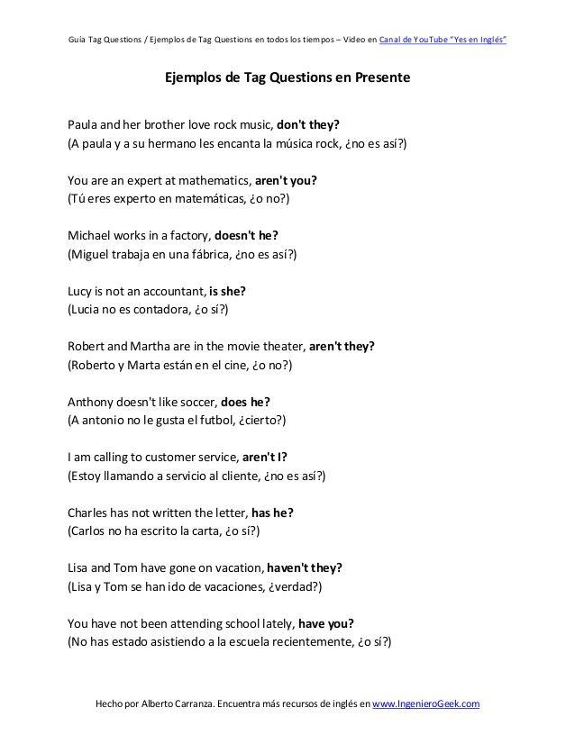 Guía Tag Questions Ejemplos De Tag Questions En Todos Los