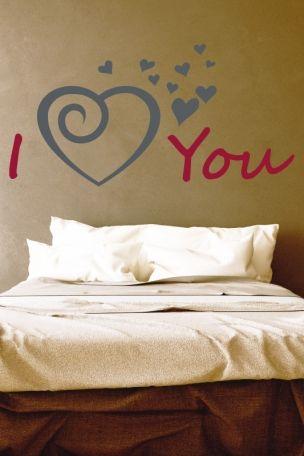 #Wandtattoo #i #love #You #schrift mit #fliegenden #Herzen