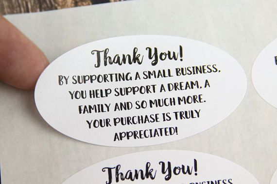 Thank you for supporting a small business stickers thank you stickers shop small