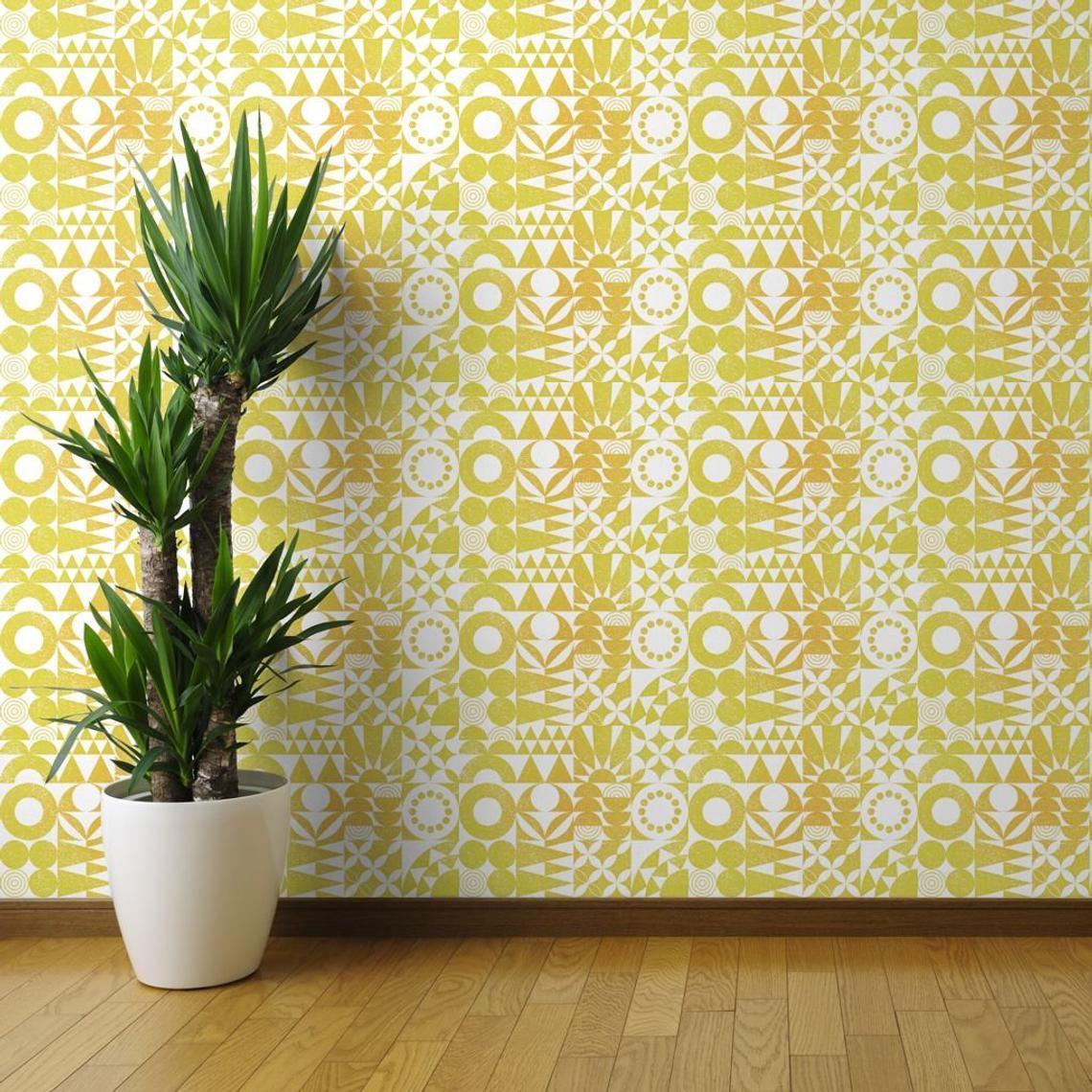 Yellow Mod Wallpaper Desert Sun By Analinea Modernism Etsy Brick Wallpaper Peel And Stick Wallpaper Wallpaper Roll