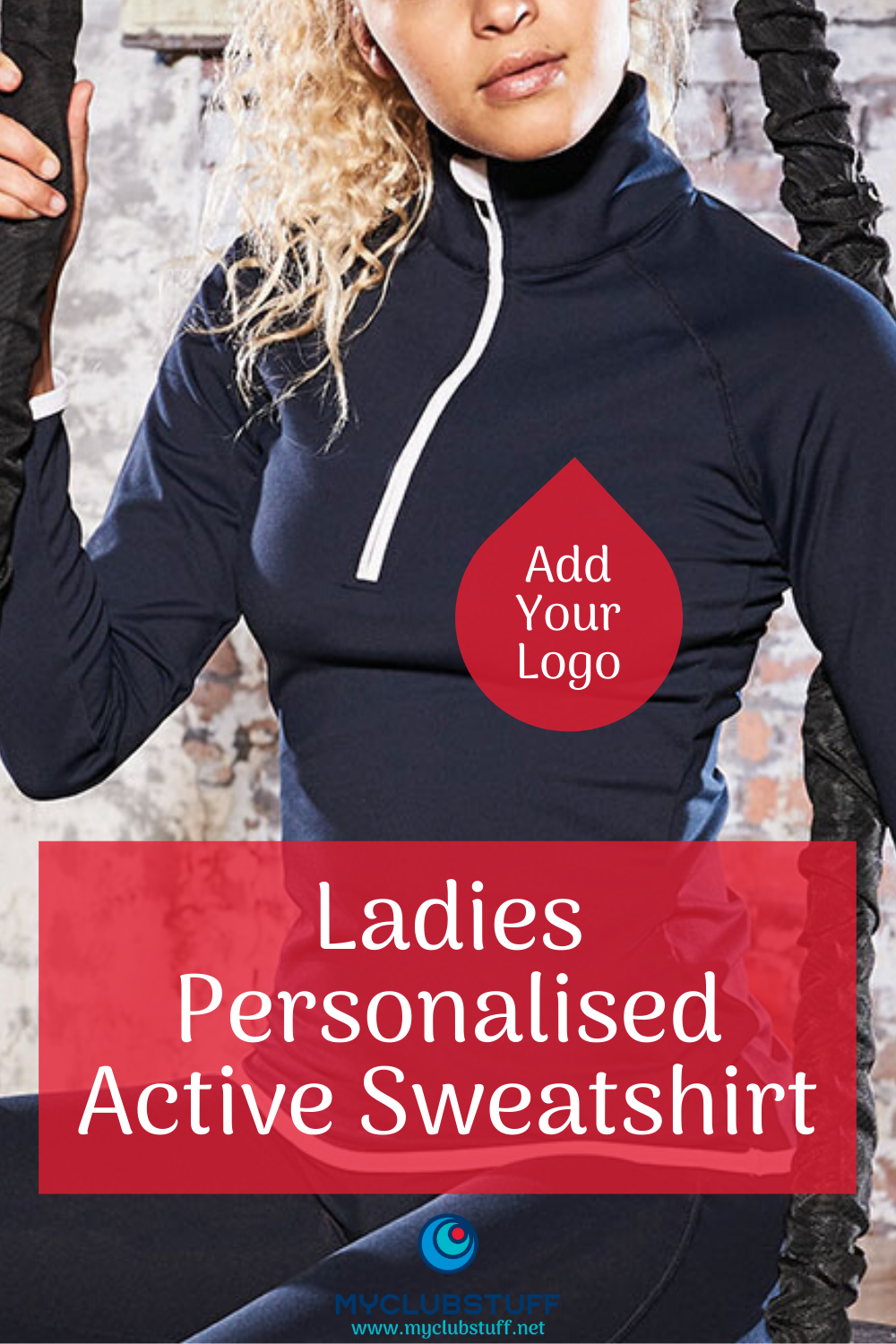 Ladies CoolFit fabric sweatshirt personalised with your logo or club crest.  Promotional products fo...