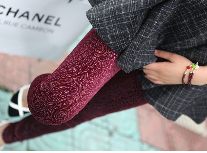 HOT LACE CUTOUT VELVET WINTER LEGGINGS