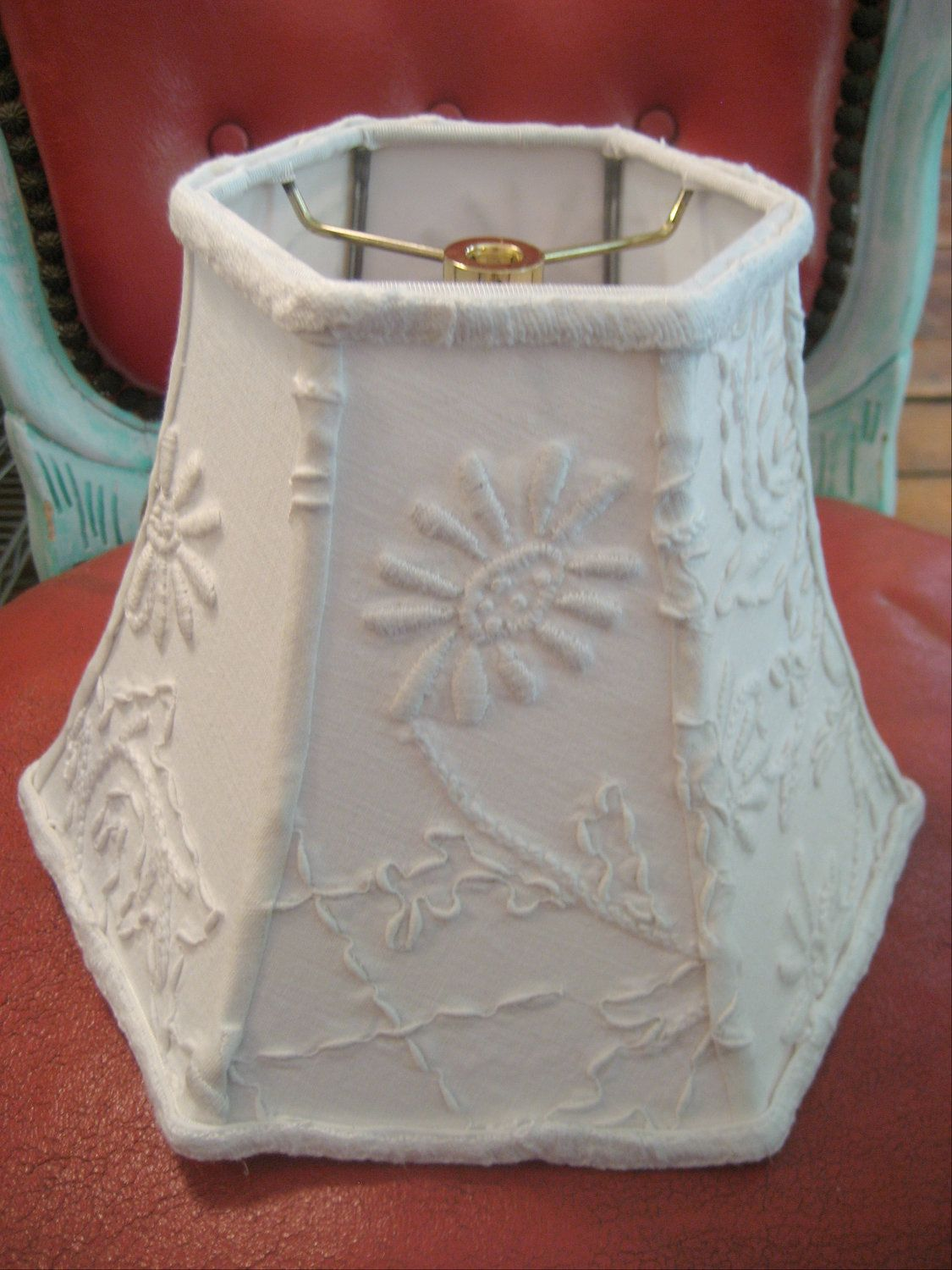 Thick Vintage White on White Embroidery Lamp Shade. $75.00, via Etsy. Love this.