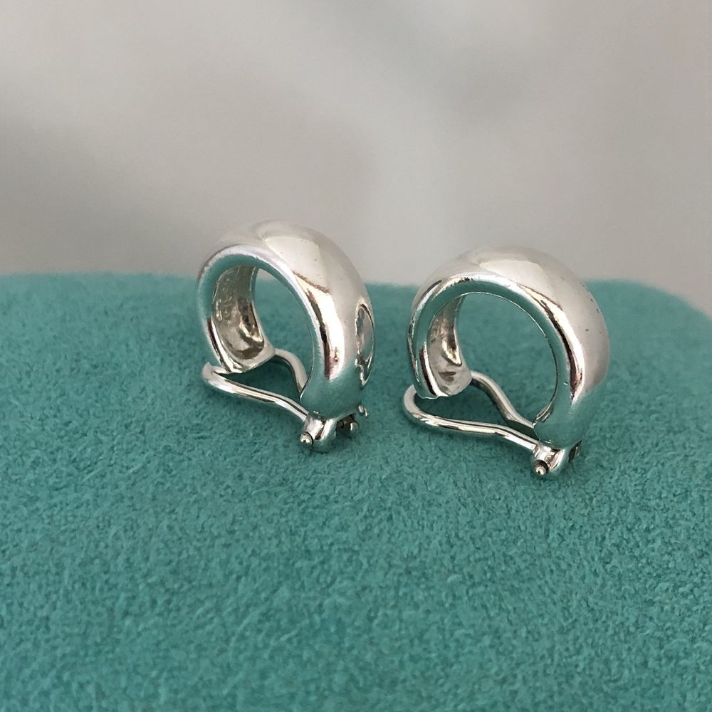 Tiffany Co Sterling Silver Hoop Clipon Clip On Earrings Ebay Link