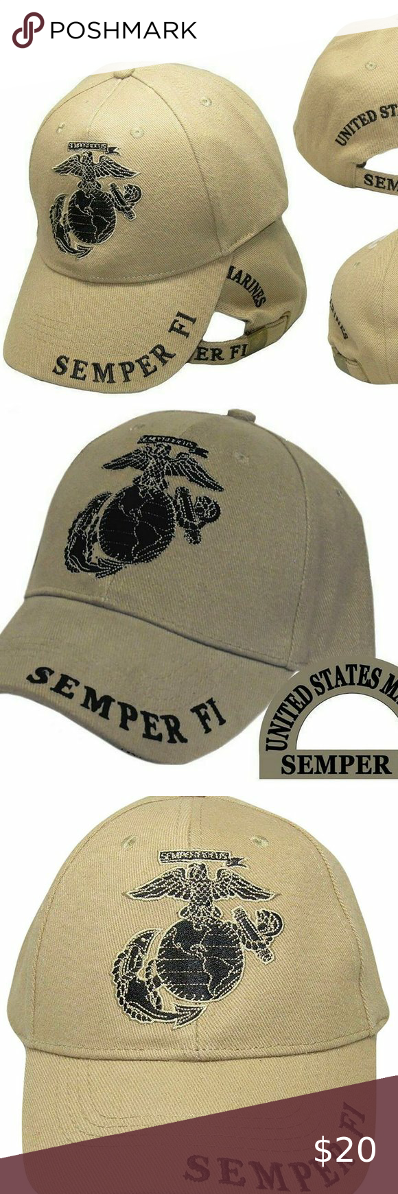 Khaki U.S Marines USMC Marine EGA Logo Eagle Subdued Semper Fi Cap Hat