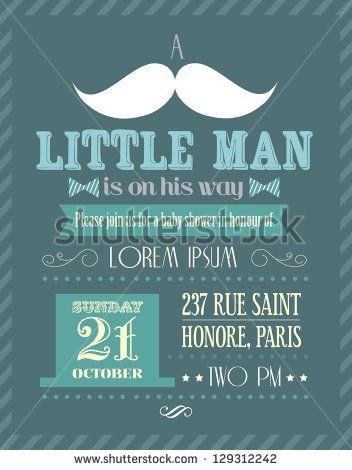 baby shower boy little man invitation template vector illustration - baby shower invite templates