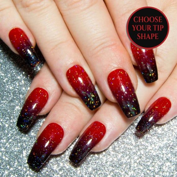 Ombre Nails Coffin Press On Nails Long False Nails Dark Etsy Ombre Acrylic Nails Red Acrylic Nails Red Ombre Nails