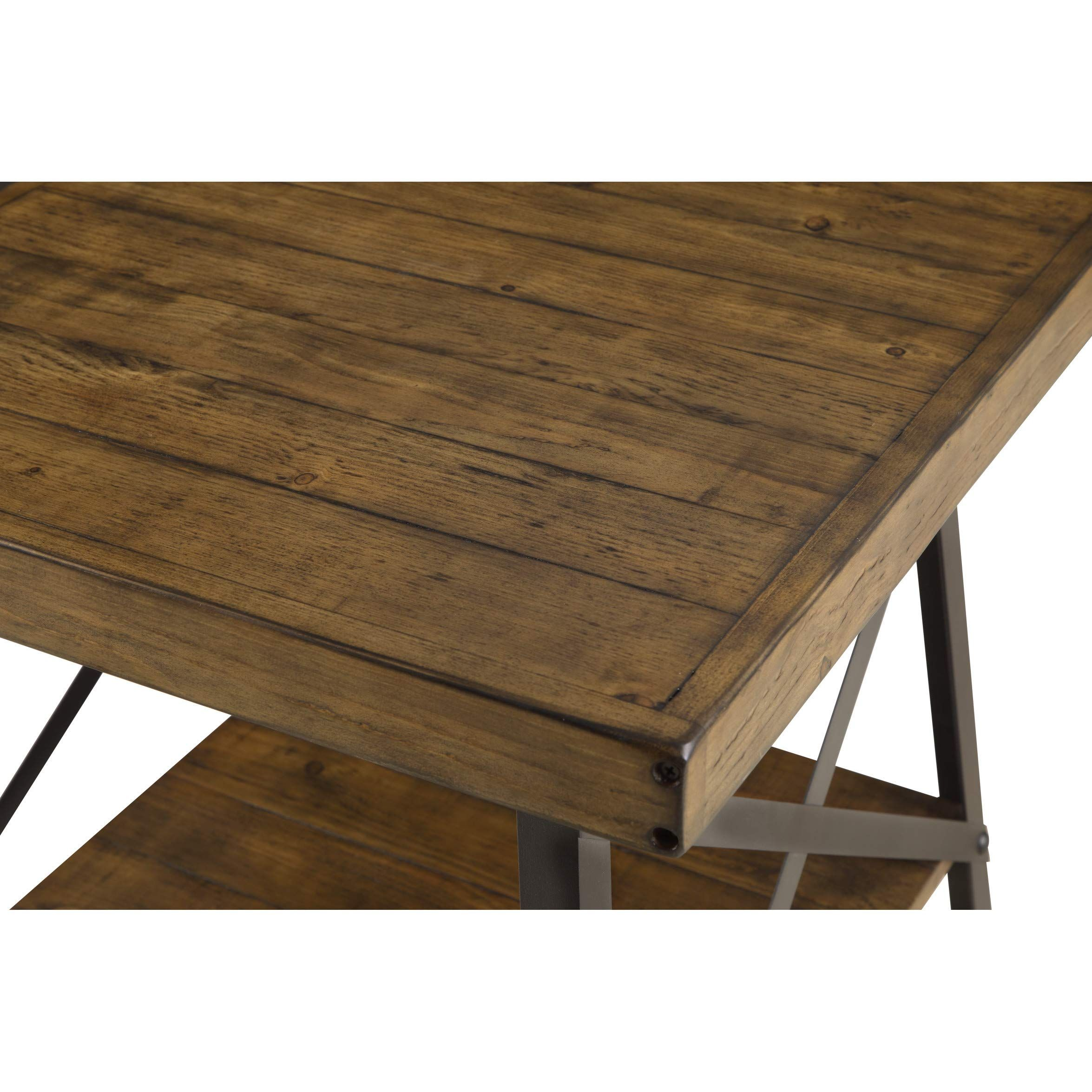 Emerald Home Chandler Rustic Wood End Table With Solid Wood Top Metal Base And Open Storage Shelf Click Image To Rev Wood End Tables Coffee Table End Tables