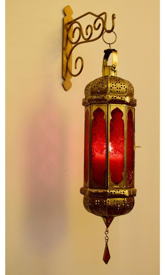 Moroccan Hanging Wall Lantern Red Glass Candle Moroccan Hanging Lanterns Wall Lantern Rustic Winter Decor