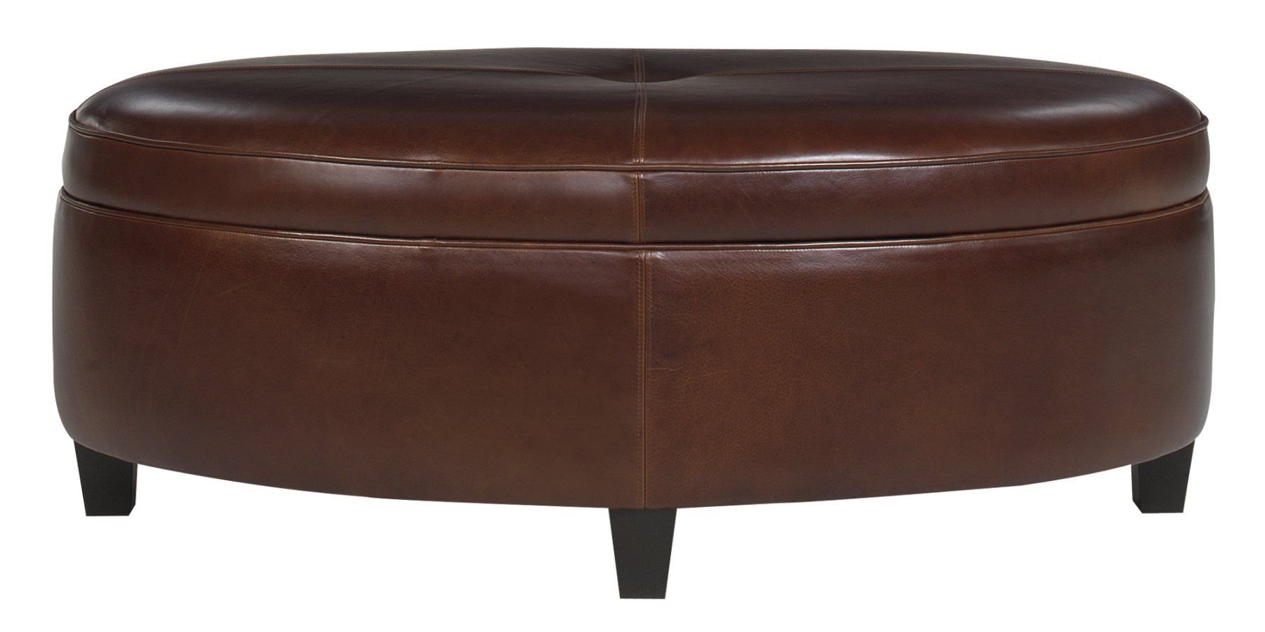 Avery Oval Leather Storage Coffee Table Ottoman Leather Coffee