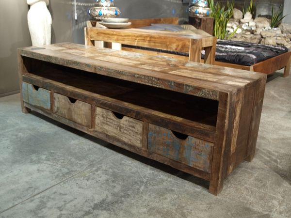Rainbow Television Unit In Recycled Wood Recycled Wood Furniture Recycled Furniture Interior Decorating