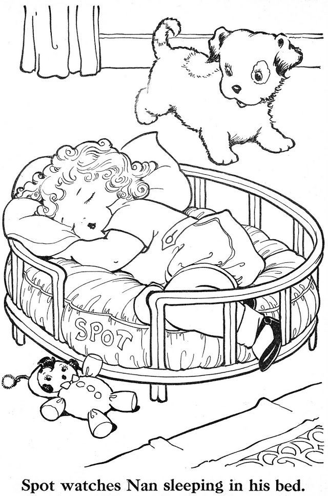 Vintage Dog And Baby Color Page Vintage Coloring Books Coloring