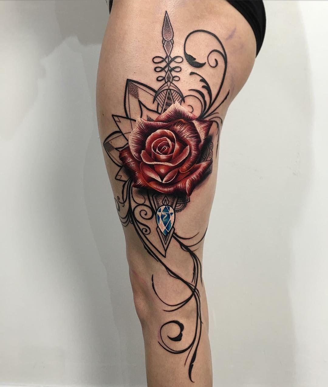 Single Rose Flower Tattoo Legs: Love This Rose Tattoo On Leg (mit Bildern)