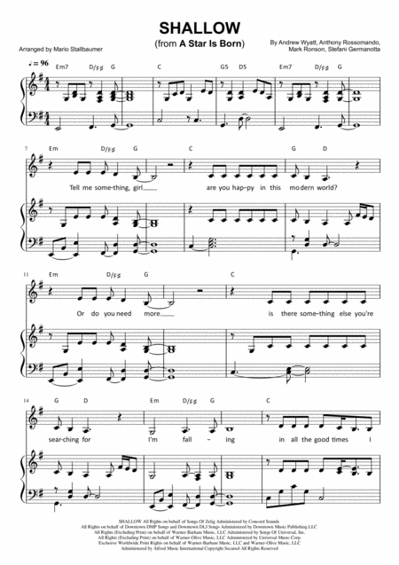 Download Shallow From A Star Is Born Sheet Music By Lady Gaga Sheet Music Plus Piano Songs Sheet Music Piano Sheet Music Sheet Music