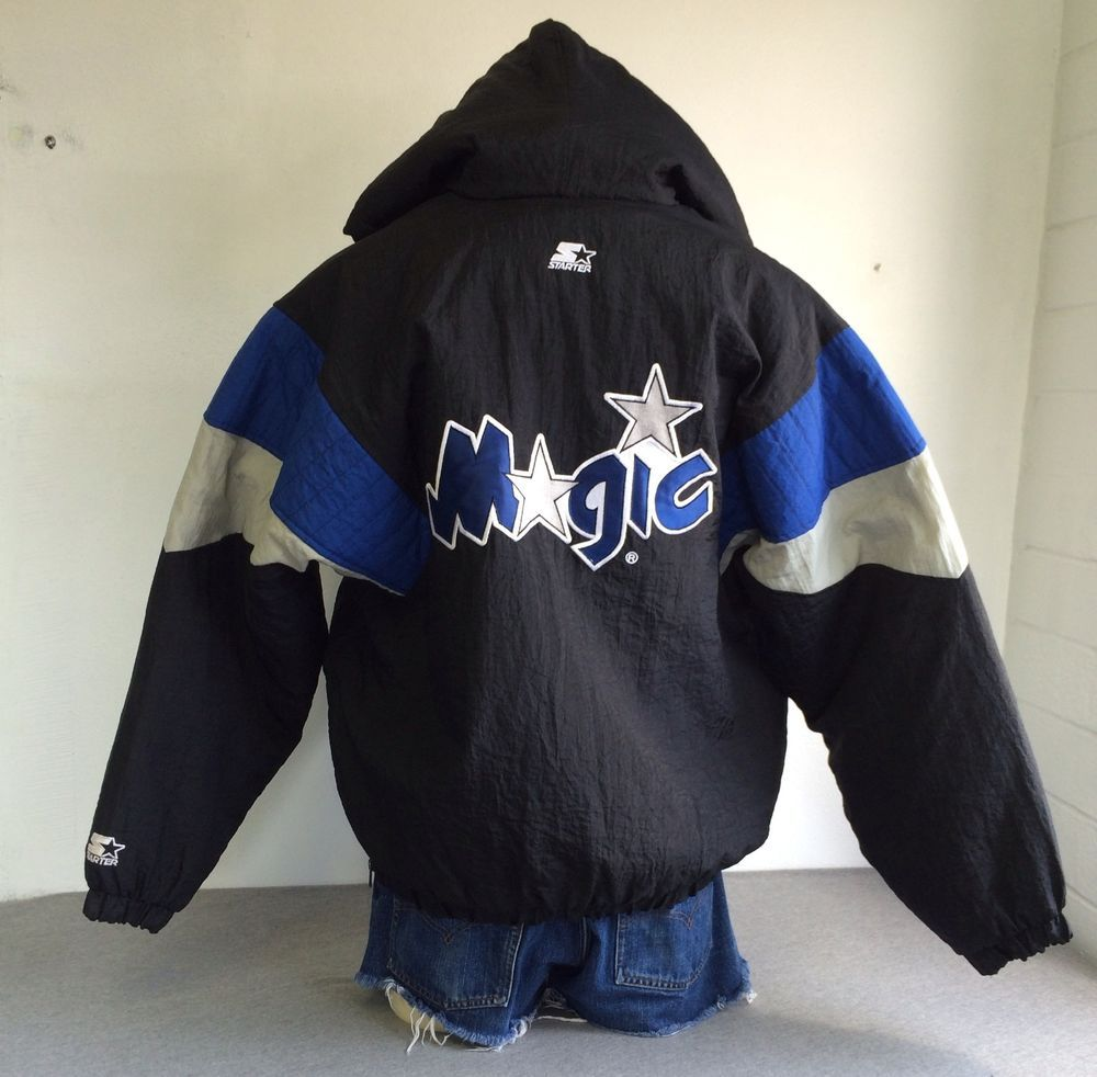 a526ddde3f8 90 s ORLANDO MAGIC STARTER JACKET Hood Insulated Sewn NBA Near MINT! Men s  Large  Starter  OrlandoMagic