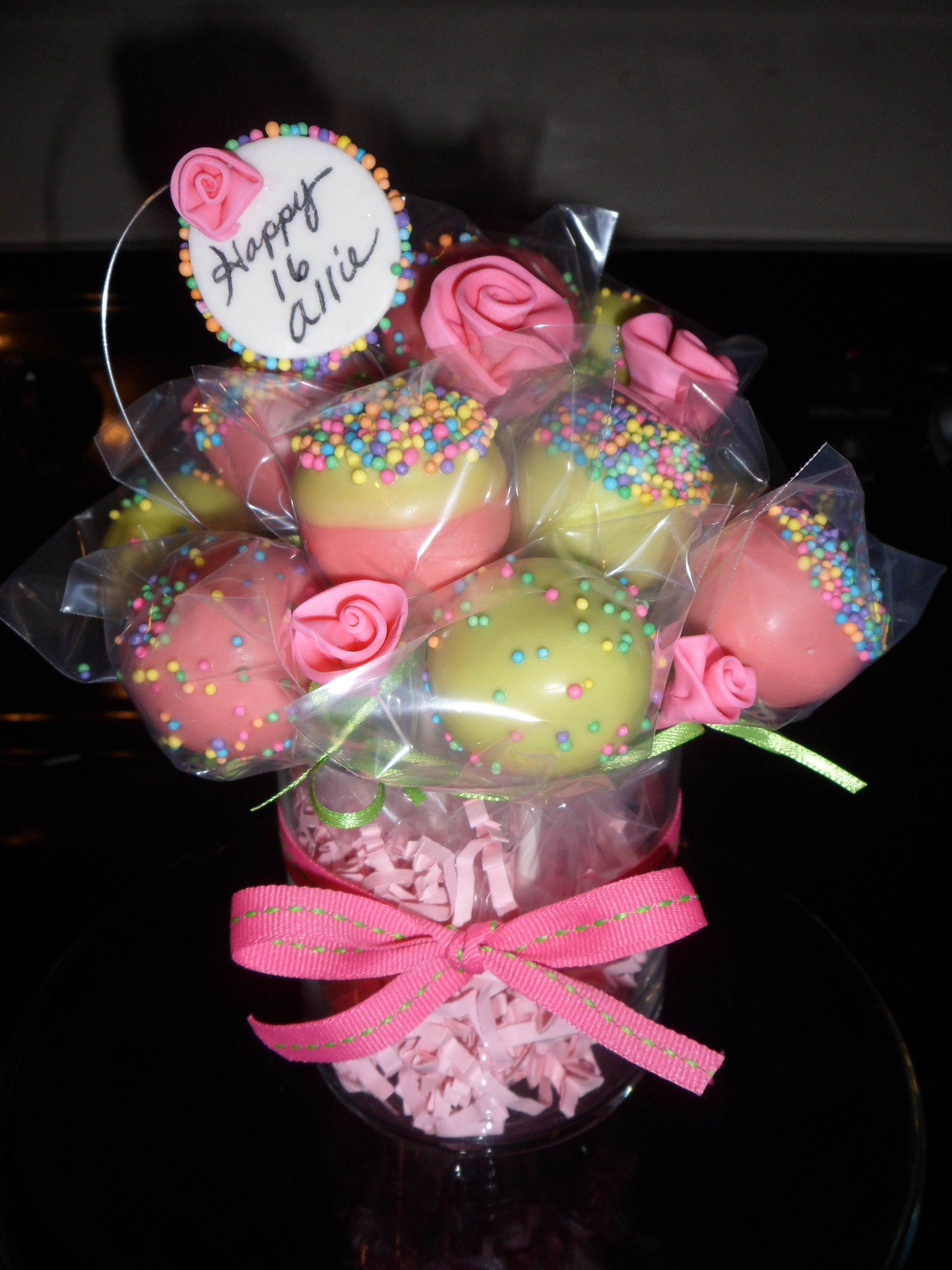 Super Cake Pop Bouquet Cake Pop Bouquet Birthday Cake Pops Christmas Personalised Birthday Cards Cominlily Jamesorg