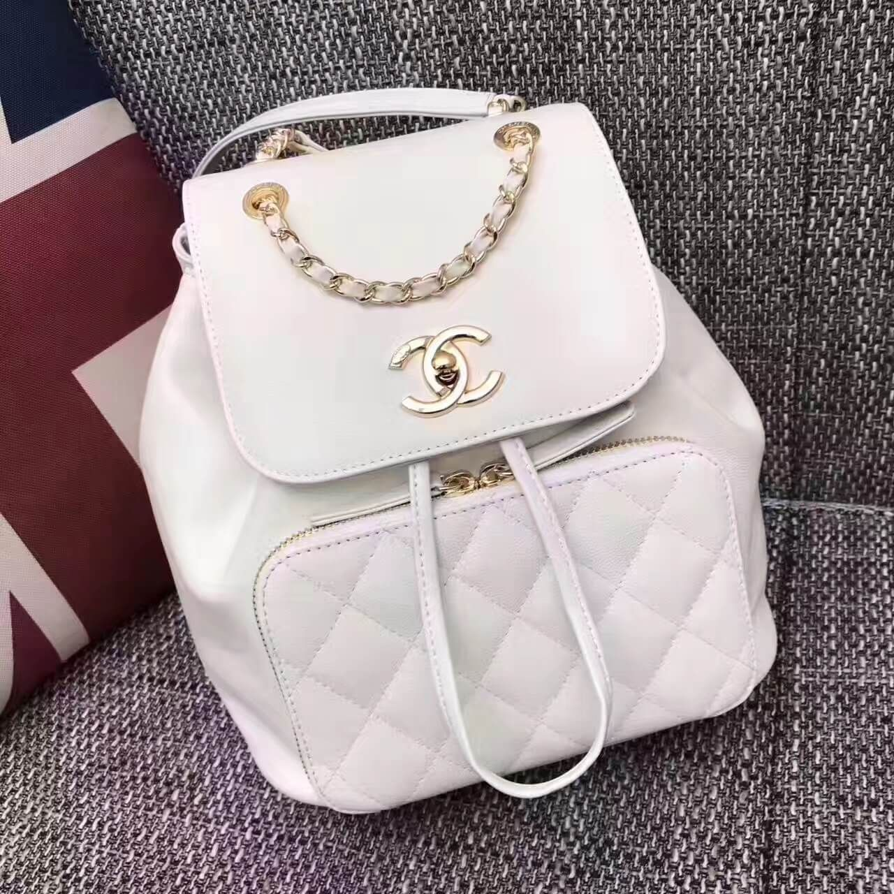 b4593b3ca9a Chanel Grained Calfskin Business Affinity Backpack Bag A93748 White 2017