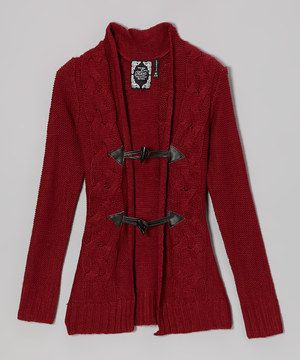 """Take the """"brrr"""" out of breezy days with a cardigan that's toasty and totally trendy. Made from warmth-inducing knit fabric, it keeps chattering teeth at bay. Layer it underneath a favorite cozy coat for a beautifully bundled-up look."""