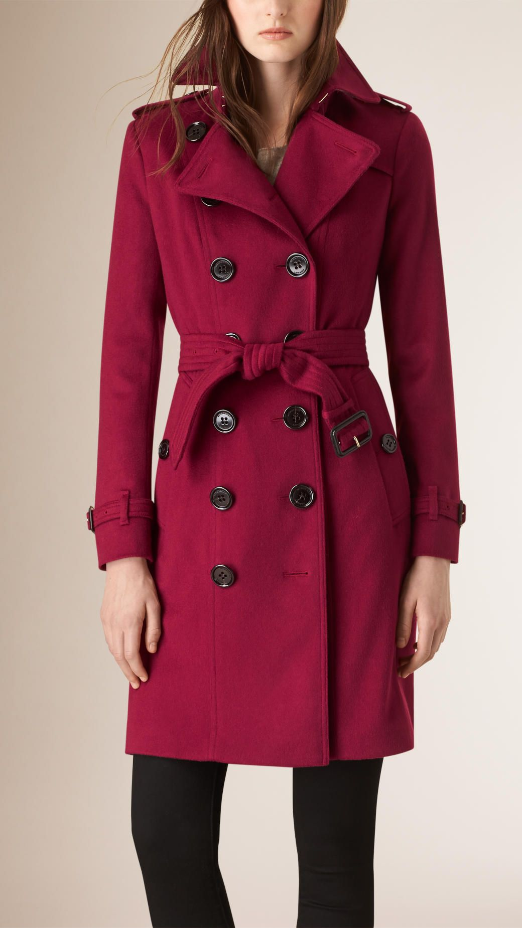 Sandringham Fit Cashmere Trench Coat Cherry Pink   Burberry ...