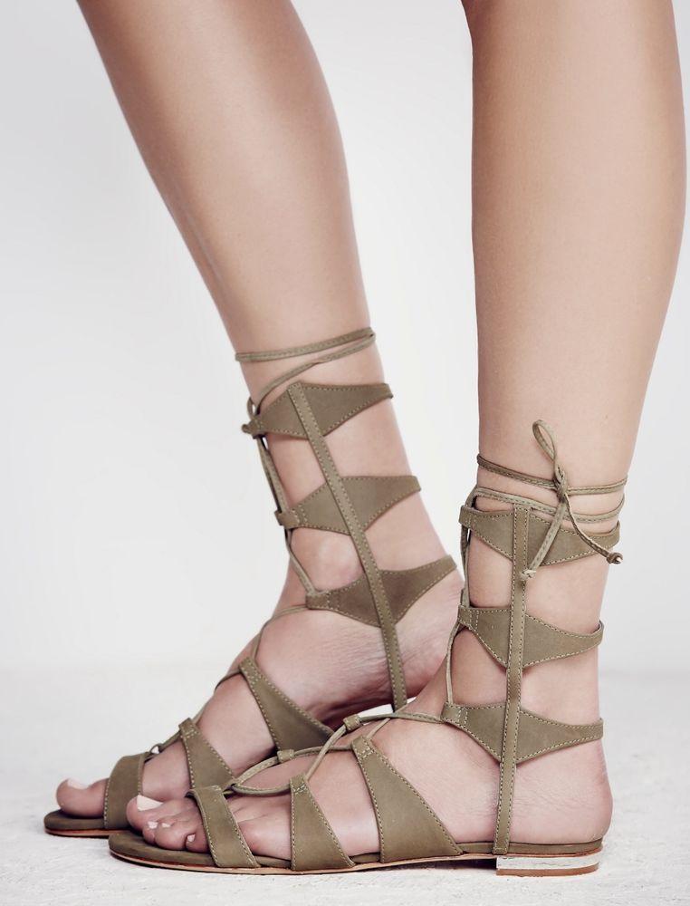 c271111f873b NIB Free People X Schutz olive green suede Lace Up Gladiator Sandal 9   Schutz  laceupgladiatorsandals  versatile
