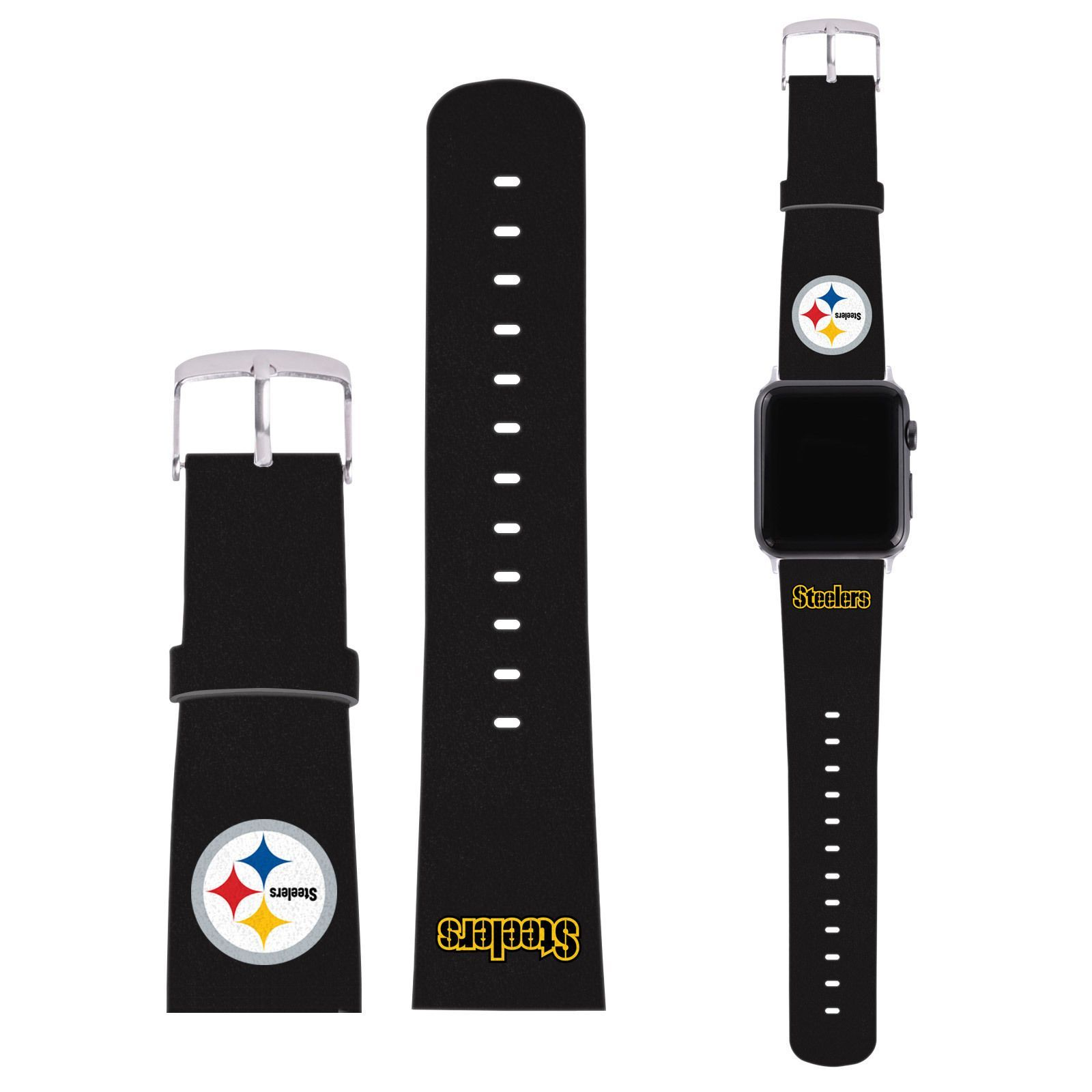 Nfl Pittsburgh Steelers Logo Black Leather Strap For Apple