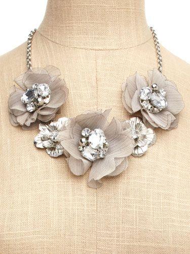 Gray blossom bib necklace...